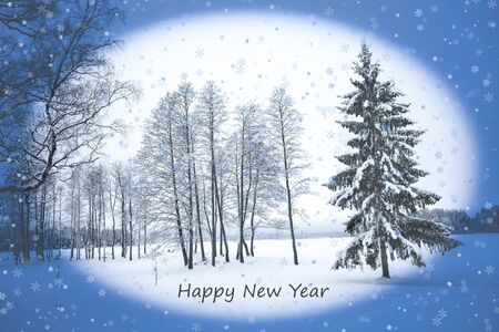 Winter landscape decorated as a cute New Year card Stok Fotoğraf