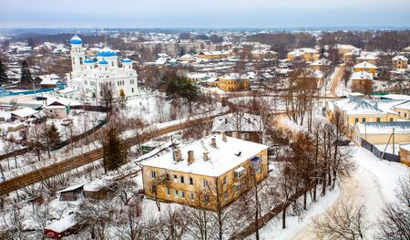 Torzhok city in the winter. Beautiful top view of the urban area. Russia