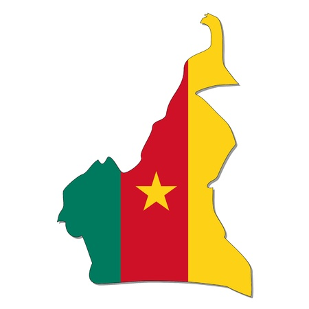 cameroon: Map and flag of Cameroon Illustration