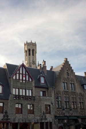 View on facades of Bruges in Belgium