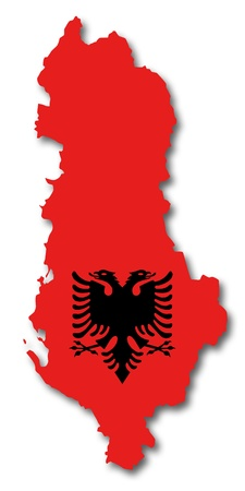 albania: Map and flag of Albania