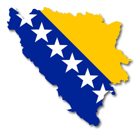 Map and flag of Bosnia and Herzegovina photo