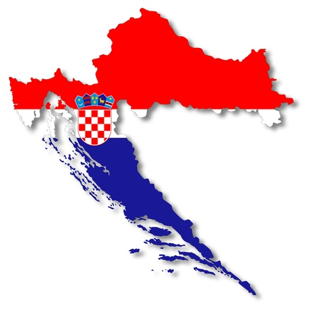 croatia: Map and flag of Croatia