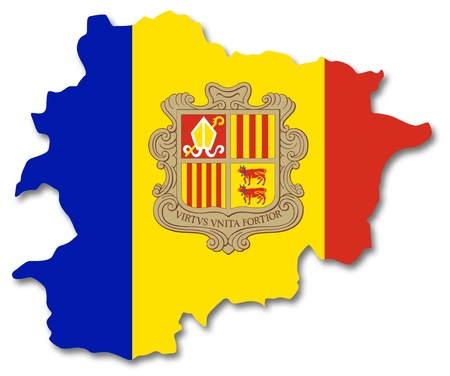 tourism in andorra: Map and flag of Andorra