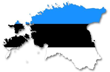 europa: Map and flag of Estonia Stock Photo