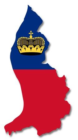 liechtenstein: Map and flag of Liechtenstein