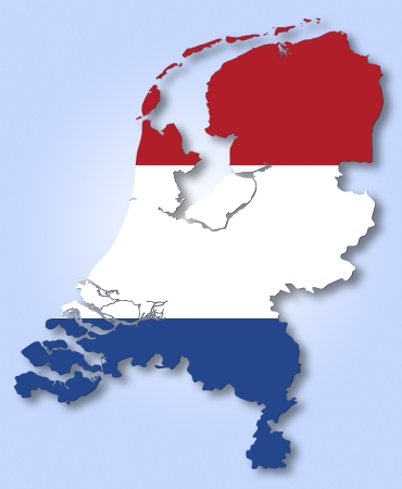 netherlands flag: Map and flag of Netherlands