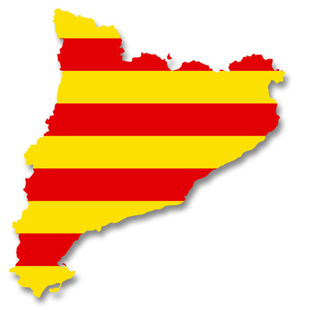 Map and flag of Catalonia photo