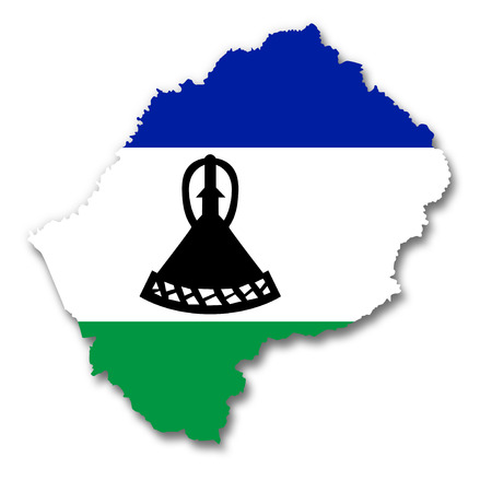 LESOTHO: Map and flag of Lesotho