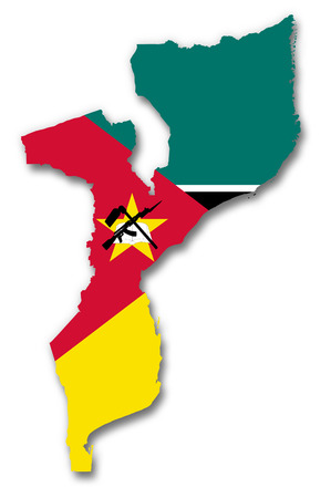 Mozambique: Map and flag of Mozambique Stock Photo