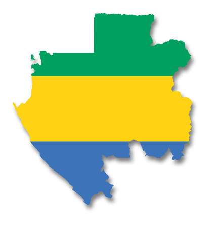 gabon: Map and flag of Gabon Stock Photo