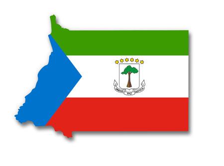 equatorial: Map and flag of Equatorial Guinea Stock Photo
