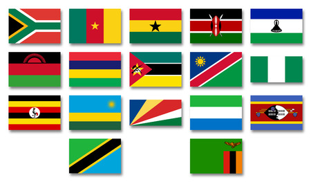 commonwealth: Flags of African menbers of the Commonwealth of Nations