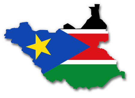 south sudan: Map and flag of South Sudan
