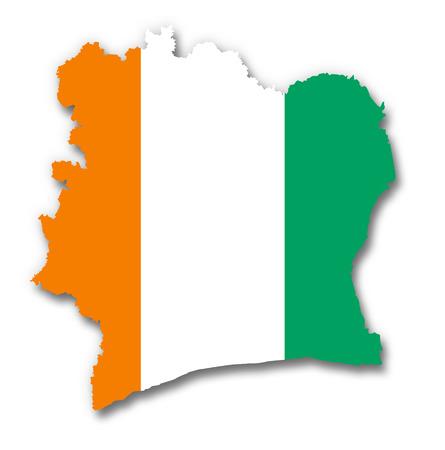 ivory: Map and flag of Ivory Coast