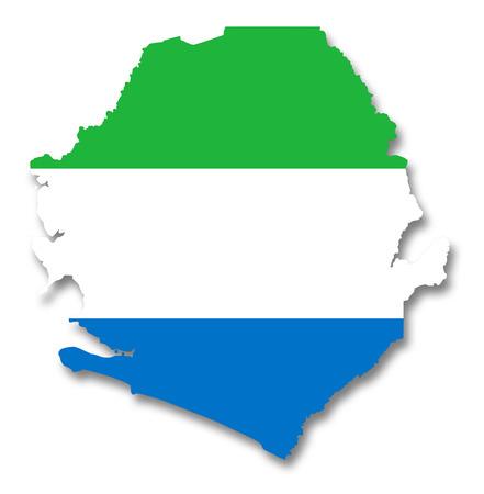 sierra: Map and flag of Sierra Leone Stock Photo