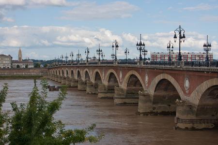 An old bridge of Bordeaux, France photo