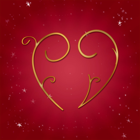 valentine s day: Golden heart on a red background for Valentine s day Stock Photo