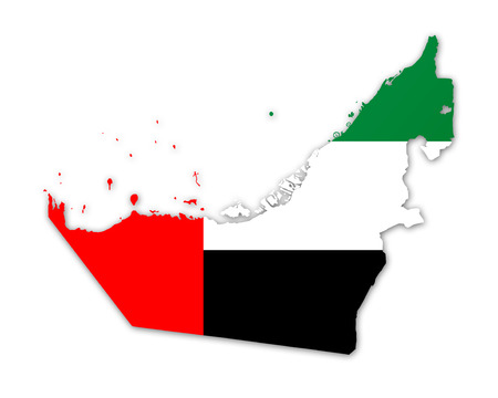 gulf: Illustration of a map with a flag of United Arab Emirates