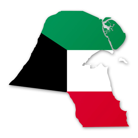 gulf: Illustration of a map with a flag of Kuwait Stock Photo
