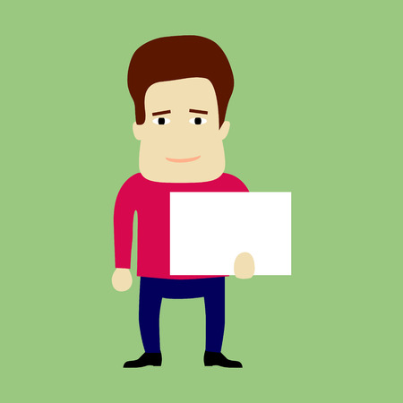 flat panel: Flat character holding a panel Stock Photo