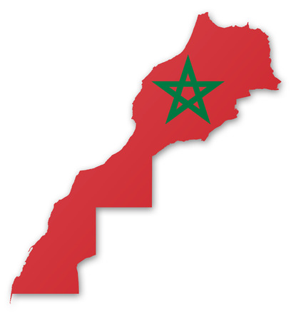 animal sexy: Illustration of a map with a flag of Morocco Stock Photo