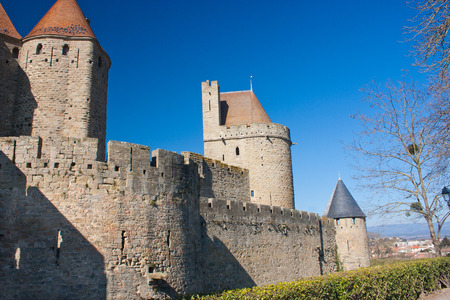rampart: Rampart of the medieval town of Carcassonne in France