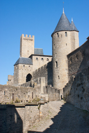 rampart: Rampart of the medieval town of Carcassonne, France