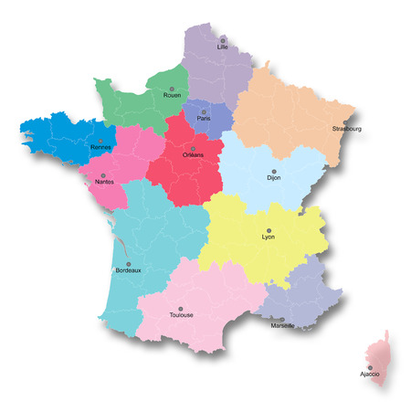 reorganization: Illustration of the new map of France