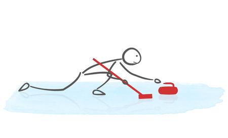 Minimalist illustration of curling player