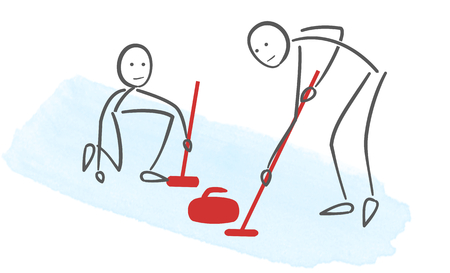 Minimalist illustration of curling players