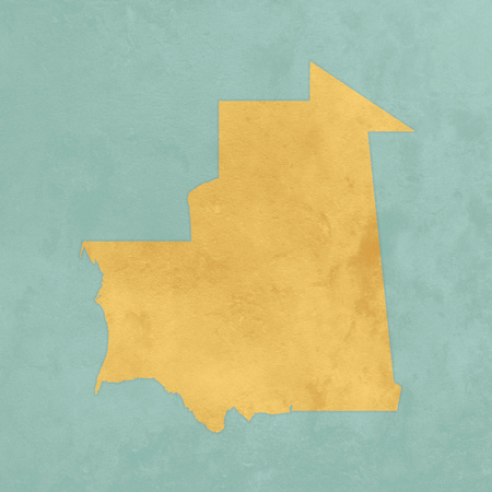Illustration of a textured map of Mauritania Stock Photo