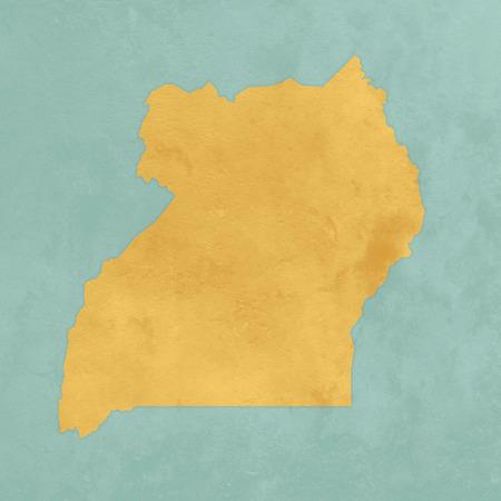 Illustration of a textured map of Uganda Stockfoto