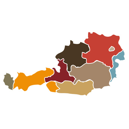 Illustration of a simplified map of states of Austria