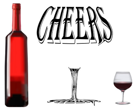 red wine with glass and cheers