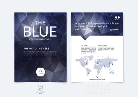 booklet design: Brochure design, flyer, cover, booklet and report layout template with premium dark blue polygonal background.