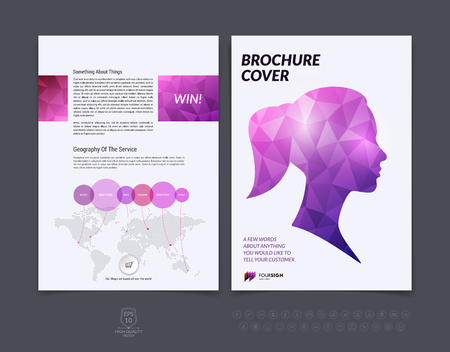 booklet design: Brochure design, flyer, cover, booklet and report layout template with pink and blue female and male silhouette polygonal background. Illustration