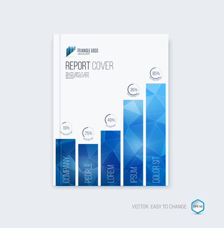 Abstract brochure template, cover design and annual report layout magazine, flyer or booklet in A4 with blue geometric shapes on polygonal background.