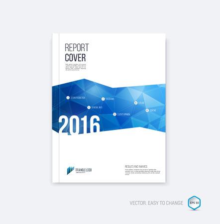 Abstract lay-out brochure, te dekken jaarverslag sjabloon, tijdschrift, flyer of boekje ontwerp in A4 met blauwe geometrische vormen op veelhoekige achtergrond.