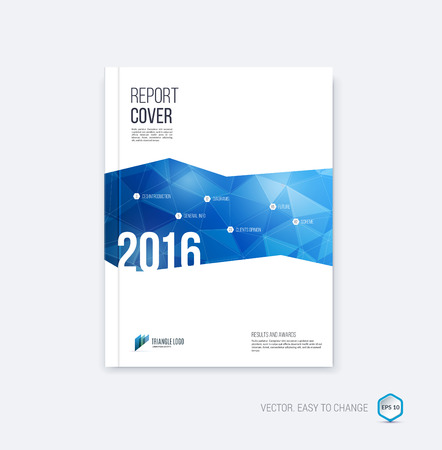 Abstract layout brochure, cover annual report template, magazine, flyer or booklet design in A4 with blue geometric shapes on polygonal background.