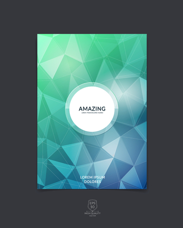 Brochure design, flyer, cover, booklet and report layout template with green and blue polygonal background.
