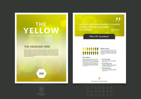 Abstract business brochure, flyer and cover design layout template with yellow blurred background.