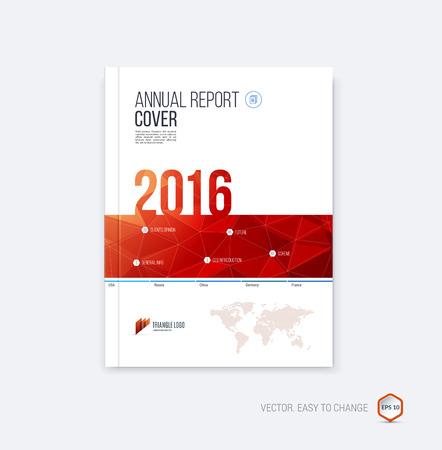 Abstracte opmaakbrochure, deksel jaarverslagsjabloon, tijdschrift, flyer of boekjeontwerp in A4 met rode geometrische vormen op veelhoekige achtergrond. Stock Illustratie