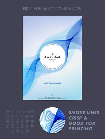 Layout cover design, brochure sjabloon, tijdschrift, flyer, brochure of rapport in A4-blauwe kleur. Stock Illustratie