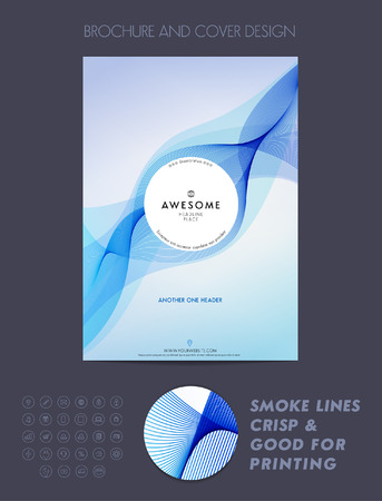 report cover: Layout cover design, brochure template, magazine, flyer, booklet or report in A4 blue color. Illustration