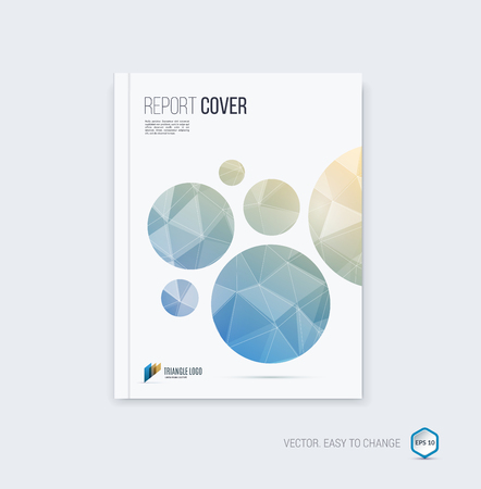 Abstract layout brochure, cover annual report template, magazine, flyer or booklet design in A4 with light blue and sand round geometric shapes on polygonal background.
