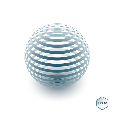 spherule: Brochure, flyer with 3D sphere of geometric lines shapes.
