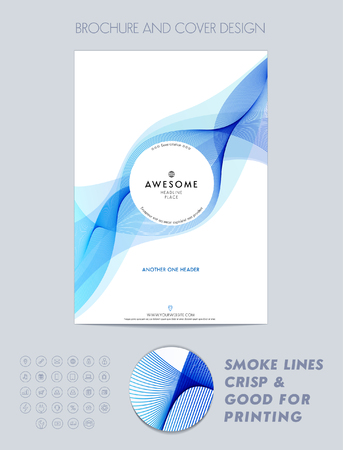 Layout cover design, brochure template, magazine, flyer, booklet or report in A4 blue color. Ilustração
