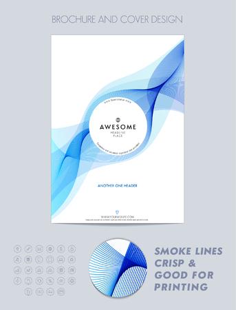 magazine design: Layout cover design, brochure template, magazine, flyer, booklet or report in A4 blue color. Illustration