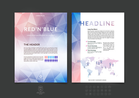 booklet design: Brochure design, flyer, cover, booklet and report layout template with blue and red polygonal background.
